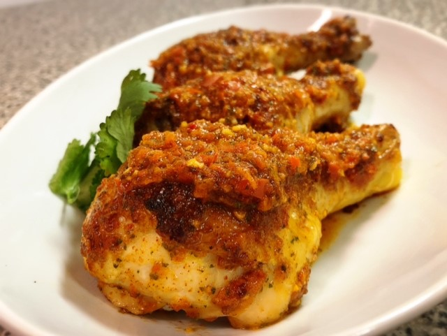 Roasted Chicken with Basil Red Sauce